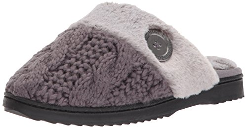 Dearfoams Women's Cable Knit Closed Toe Scuff, Excalibur, M Medium US Excalibur Cables