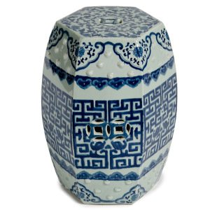 Pattern Hexagonal Blue And White Traditional Chinese Garden Stool Seat  Oriental Furniture