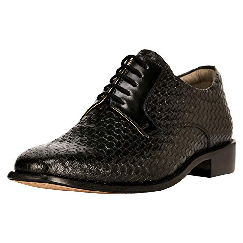 Liberty Derby Dress Shoes Men's Formal PU/Leather Tread Design/Knitted/EEL Lace Up Shoes (9.5 M US, Black Leather)