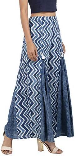 Indya Palazzo Bas en coton pour femme (IPL00293_ Bleu_ XS