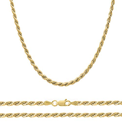 Orostar 10K Yellow Gold 5mm Diamond Cut Handmade Rope Chain Necklace, 16