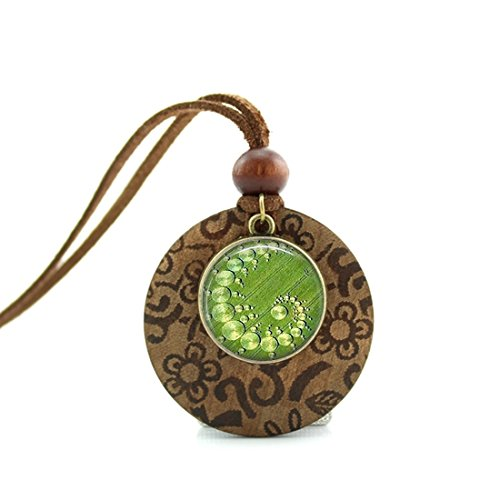 - Crop Circle Aliens, Ufo'S, Geometric JewelryPendants Wooden & Metal Necklace with Adjustable Leather Cords Handmade