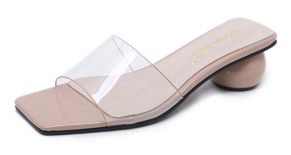 SHOWHOW Damen Modern Transparent Zehenfrei Clogs Slip on Pantoffeln Pink