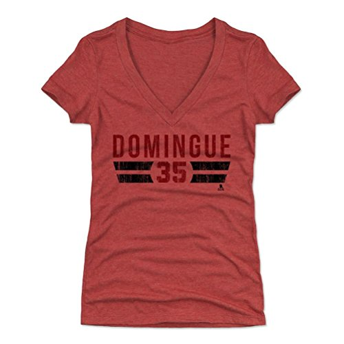 500 LEVEL's Louis Domingue Women's V-Neck T-Shirt M Tri Red - Louis Domingue Font R - Arizona Hockey Fan Gear Officially Licensed by the NHL Players Association