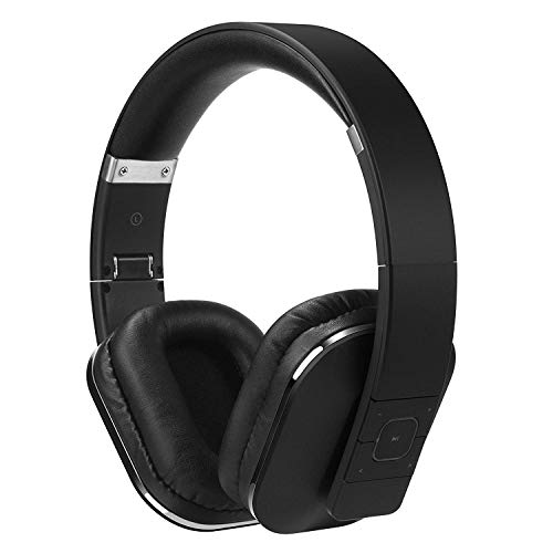 Over Ear Bluetooth Wireless Headphones- App for Custom Sound Control with 3.5mm Audio In/Headset Microphone - Black