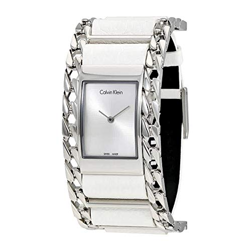 Calvin Klein Womens Analogue Quartz Watch with Leather Strap K4R231L6 Calvin Klein Womens White Dial