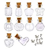 LEFV 10pcs Mini Cork Top Glass Bottle Vial Charm - 1 Inch Clear Empty Sample Jars Message Bottle Small Tiny Size Pendant with Corks and 10pcs Eye Screw, Assorted Shape