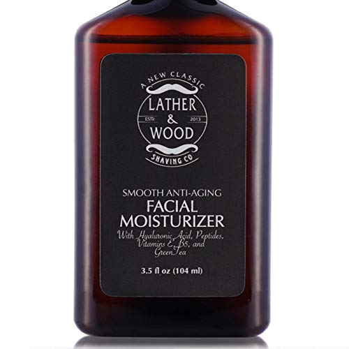 Face Moisturizer for Men - Lather & Wood's Luxurious Sophisticated Mens Moisturizer for the Man's Man. Fragrance-Free Face Cream for Men. (Unscented, 3.5 ounce) (Best Mens Body Moisturiser)