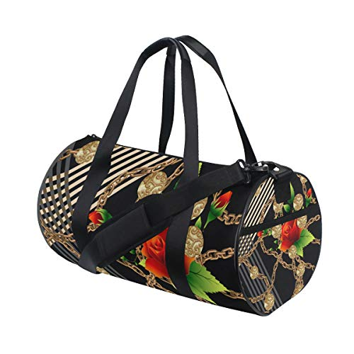 YCHY Flowers Pattern Scarf Design Baroque Geometric Water Resistant Gym Sports with independent zipper Travel Duffel Bag for Women and Men