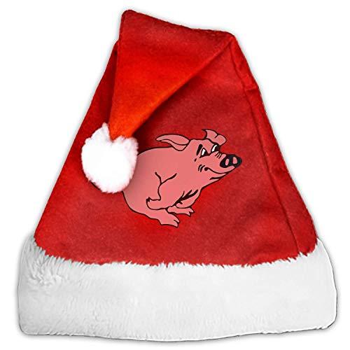 Christmas Santa Hat Pig Hog Piggy Pink Swine Pork Luxury Plush Christmas Santa Claus Cap Xmas Hat for Adults/Kids ()
