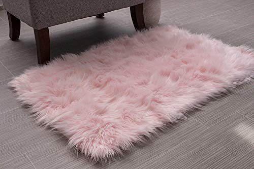 HLZHOU Faux Fur Soft Fluffy Single Sheepskin Style Rug Chair Cover Seat Pad Shaggy Area Rugs for Bedroom Sofa Floor (2x3 Feet (60X90cm), Square Pink)
