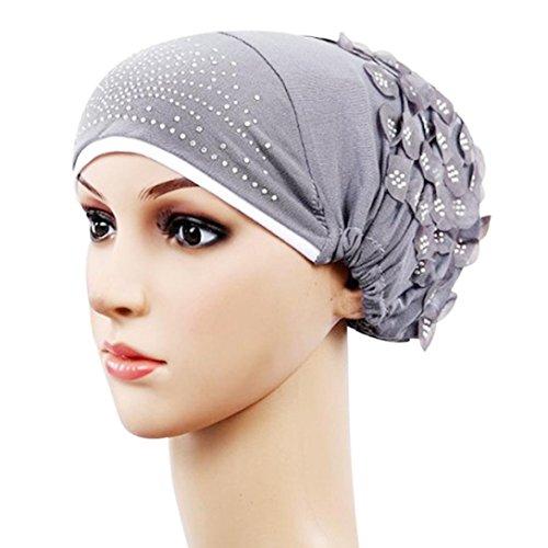 Women Muslim Stretch Turban Floral Rhinestone Hat Cap Head Scarf Wrap (Gray)