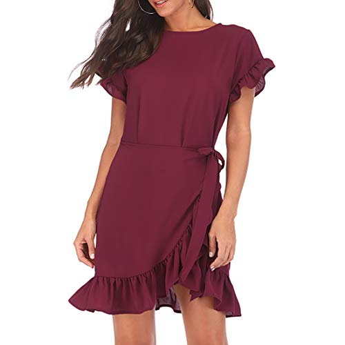 WEEPINLEE Womens Long Sleeve Round Neck Ruffles Wrap Dresses Party Dress (Wine Red Short Sleeve, S) ()