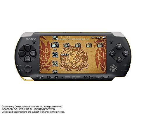 Sony Playstation Portable (PSP) 3000 Series Handheld Gaming Console System - Black/Gold Monster Hunter Limited Edition (Renewed)