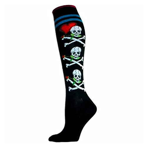 Foot Traffic Bones and Roses Black Knee High Socks, Cute, Quirky & Comfortable, Black (Men's Shoe Sizes 7-12) -