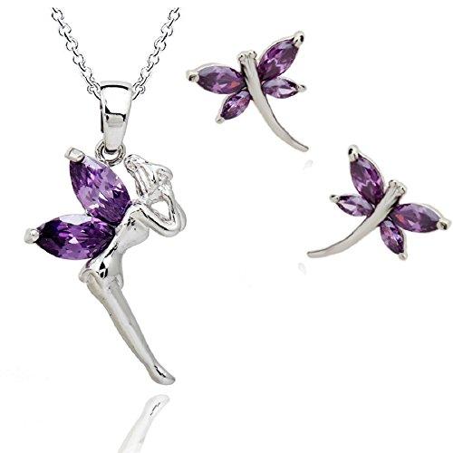 - Fairy Tinkerbell Purple Violet Zirconia Crystals Set Pendant Necklace 18