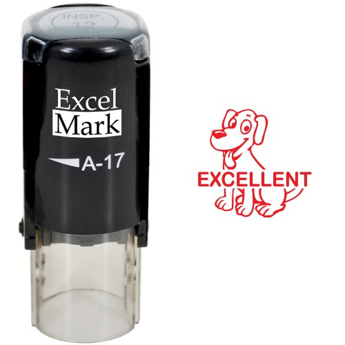 EXCELLENT Dog - ExcelMark Self-Inking Round Teacher Stamp - Red Ink ()