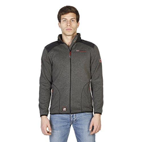 Geographical Norway Herren warme Sweatshirt-Jacke TUTEUR grau weiß Pullover Sweatjacke