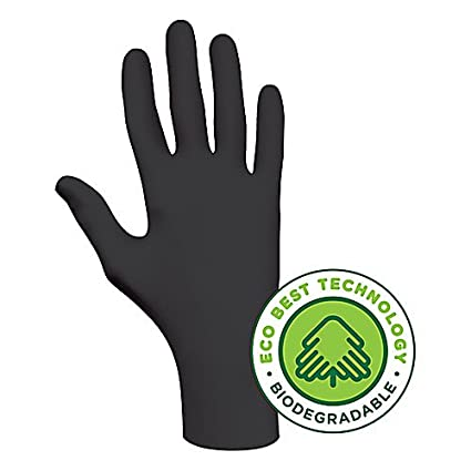Rolled Cuff Nitrile M Pack of 100 4 mil SHOWA 6112PFM100 Biodegradable Disposable Glove with ETB 9.5 Length Powder-Free Black