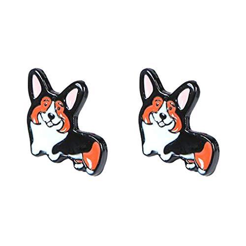 (Cute Pet Dog Pembroke Welsh Corgi Clip on Earrings Enamel Animal Dangle Prom Jewelry for Girls)