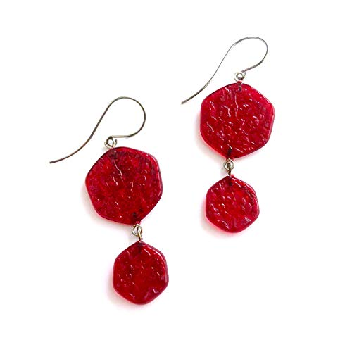 Red 'Stained Glass' Double Drop Earrings   Vintage Lucite Statement Jewelry