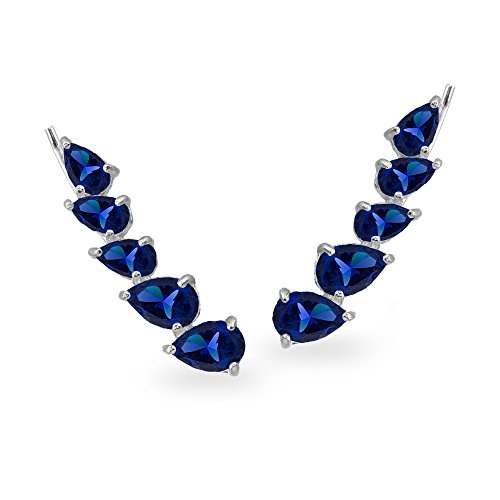 - Sterling Silver Created Blue Sapphire Teardrop Curved Climber Crawler Earrings