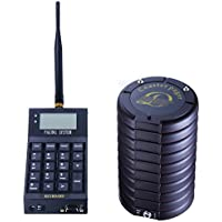 Dshot 10 Call Coaster Pager and Beeper Wireless Restaurant Pager System Portable Rechargable Restaurant Buzzers Guest Paging System Beeper Calling System with Keypad Call Buttons
