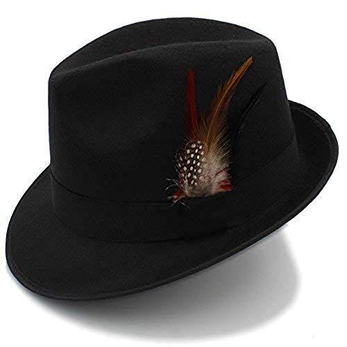 Kentucky Derby Dress Fedora Panama Wool Manhattan Gangster Beach Women Men Trilby Brimmed Accessories Felt hat (Black)