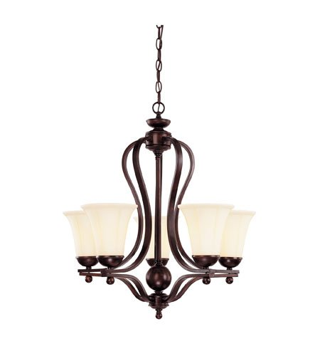 Savoy House 1-6900-5-13 Chandelier with Cream Opal Etched Shades, English Bronze Finish (Glass Etched Opal Cream)