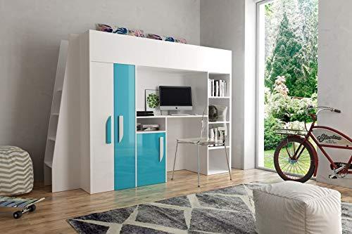 Etagenbett für Kinder PARTY 15 Stockbett mit Treppe und Bettkasten KRYSPOL (Weißszlig; + Schwarzr Glanz) Weiß + Türkisglanz