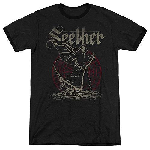 A&E Designs Seether Ringer T-Shirt Reaper Black Tee, 2XL (Reaper Ringer T-shirt)