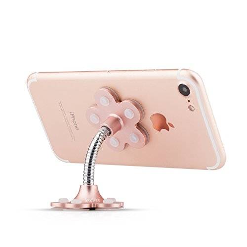 Lexvss Mini Suction Cup Phone Holder, 360 Degree Rotating Double-sided Suction cup Non-slip Office Mobile Stand Home Type Phone Stand, for Cell phones Smart phones Placement (Rose gold)
