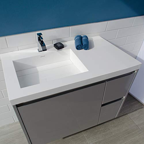 Vanity-top Bathroom Sink made of solid surface, with an overflow and decorative drain cover. Sink is on the left. 03 - three faucet holes in 8