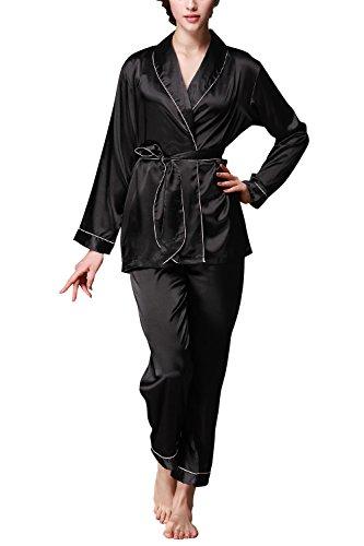 Dolamen Pijamas para mujer, Pijamas Mujer invierno, Mujer camisones, Satén suave y cálido Manga larga y pantalones largos, Mujer largo Camisones raso Satin Pijamas Negro