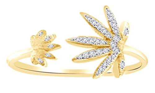 Round Cut White Diamond Marijuana Leaf Adjustable Toe Ring In 14K Yellow Gold Over Sterling Silver (0.1 Cttw), Ring Size: 4 14k Designer Toe Ring