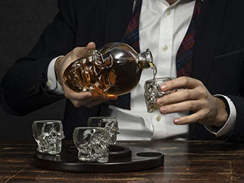 Large Skull Face Decanter with 4 Skull Shot Glasses and Beautiful Wooden Base - By The Wine Savant Use Skull Head Cup For A Whiskey, Scotch and Vodka Shot Glass, 25 Ounce Decanter 3 Ounces Shot Glass by The Wine Savant (Image #4)