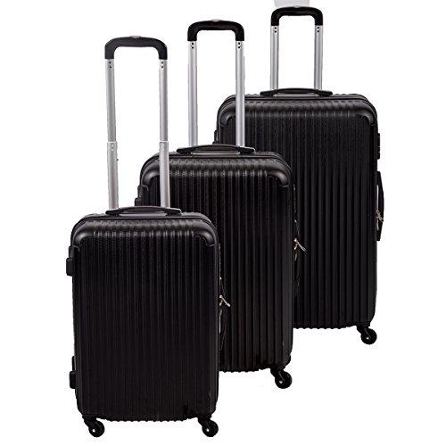 New Black 3 Pcs Luggage Travel Set Bag ABS Trolley Suitcase