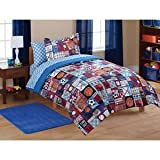 5pc Boys Sports Boys Baseball, Soccer, Basketball, Football Twin Comforter Set (5 Piece Bed In A Bag)