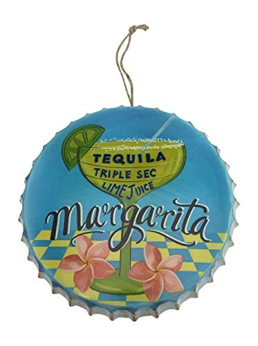 """Margarita Metal Bottle Cap, Wall Decor for Tiki Bar or Mancave, 9.75"""" Diameter"""
