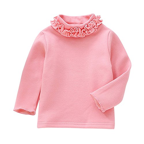 Birdfly 2T - 7T Girls Warm Winter T-Shirt Ruffle Turtleneck Top Toddler Kids Long Sleeve Bottom Tee (Pink, ()