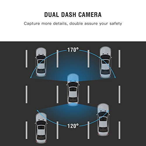 "TOGUARD 8"" Mirror Dash Cam, Dual Lens Touch Screen Rear View Mirror Camera 1080P Front and 720P Backup Camera with G-Sensor Parking Monitor"