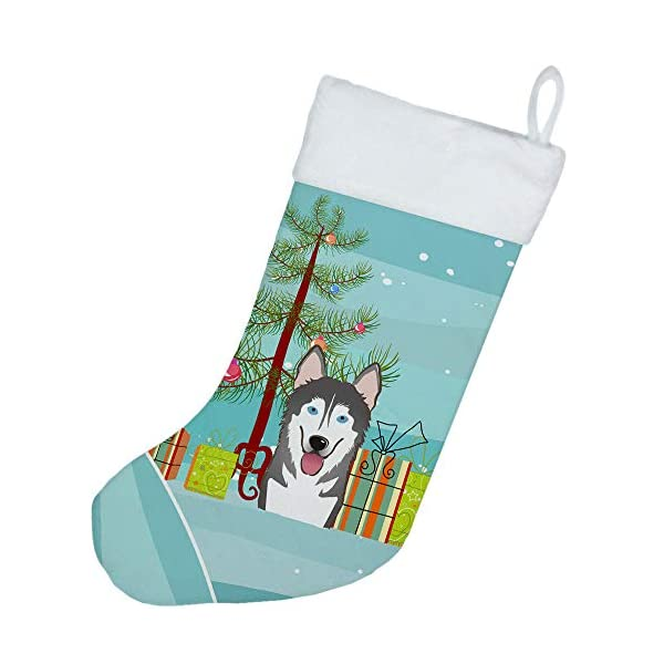 Caroline's Treasures BB1590CS Christmas Tree and Alaskan Malamute Christmas Stocking, Large, Multicolor 2