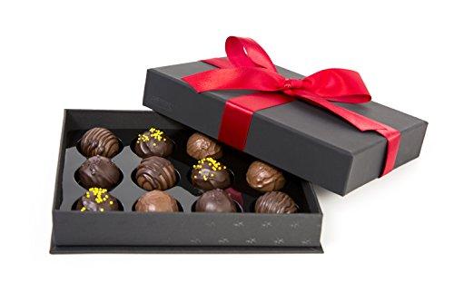 ASTOR Chocolate 12 Piece Belgian Signature Truffles Gift Box - Red Ribbon Godiva Chocolate Champagne