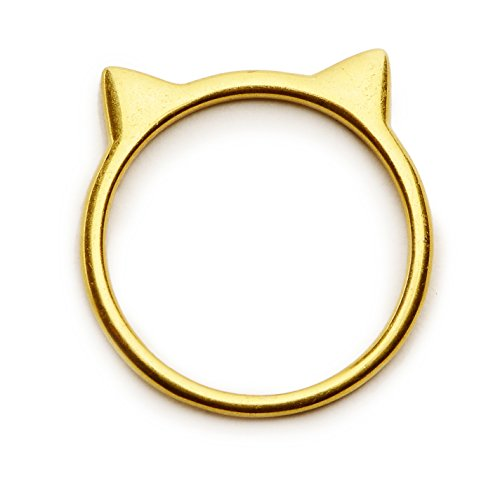 - Silver Phantom Jewelry Cat Ear Ring in 18k Gold-Plated Sterling Silver (Size 6)