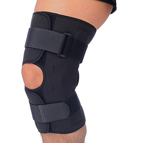 T TIMTAKBO Hinged Knee Brace Support,Metal Side Stabilizer,Open Patella,Wrap for Athletic Compression,Arthritis,Sports Trauma,Sprains,Pain Release and Injury Prevent(Longer Length 12