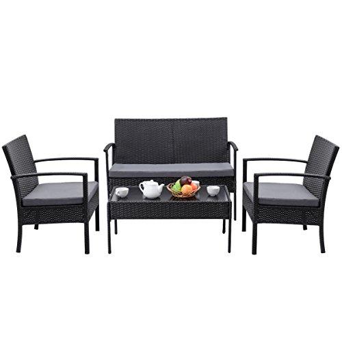 4 PCS Furniture Set Table Black Sofa Outdoor Patio Rattan Wicker Cushioned Deck Perfect for deck - Table Sofa Adirondack