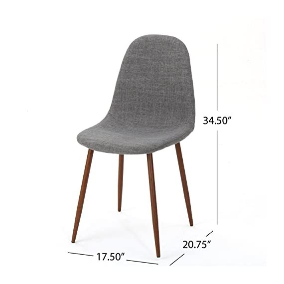 """Christopher Knight Home Raina Mid-Century Modern Fabric Dining Chairs with Wood Finished Metal Legs, 2-Pcs Set, Light Grey / Dark Brown - """"Includes: two (2) chairs material: fabric composition: 100% polyester Leg material: metal with wood Finish color: light grey Leg Finish: dark brown assembly required Hand crafted details dimensions: 20.75 inches deep x 17.50 inches wide x 34.50 inches high Seat width: 17.50 inches Seat Depth: 15.60 inches Seat Height: 19.00 inches"""" - kitchen-dining-room-furniture, kitchen-dining-room, kitchen-dining-room-chairs - 41wE64QhLfL. SS570  -"""