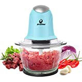 POSAME Meat Grinders Electric Food Processor,Mini Kitchen Food Chopper Vegetable Fruit Cutter Onion Slicer Dicer, Blender and Mincer, with 4-Cup Glass Bowl (Blue)