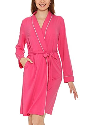 Yulee Women's Cotton Long Robe Kimono Collar Solid Knit Bathrobe Sleepwear