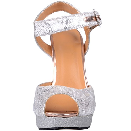 Calaier Women Cafight Summer Designer Sexy Graceful Luxury Ladies Extreme High Heel Plus Size Peep Toe 12.5CM Stiletto Buckle Sandals Shoes Silver P6imUkPD